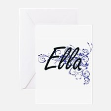 Ella Artistic Name Design with Flow Greeting Cards