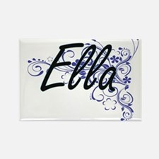 Ella Artistic Name Design with Flowers Magnets