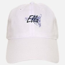 Ella Artistic Name Design with Flowers Baseball Baseball Cap