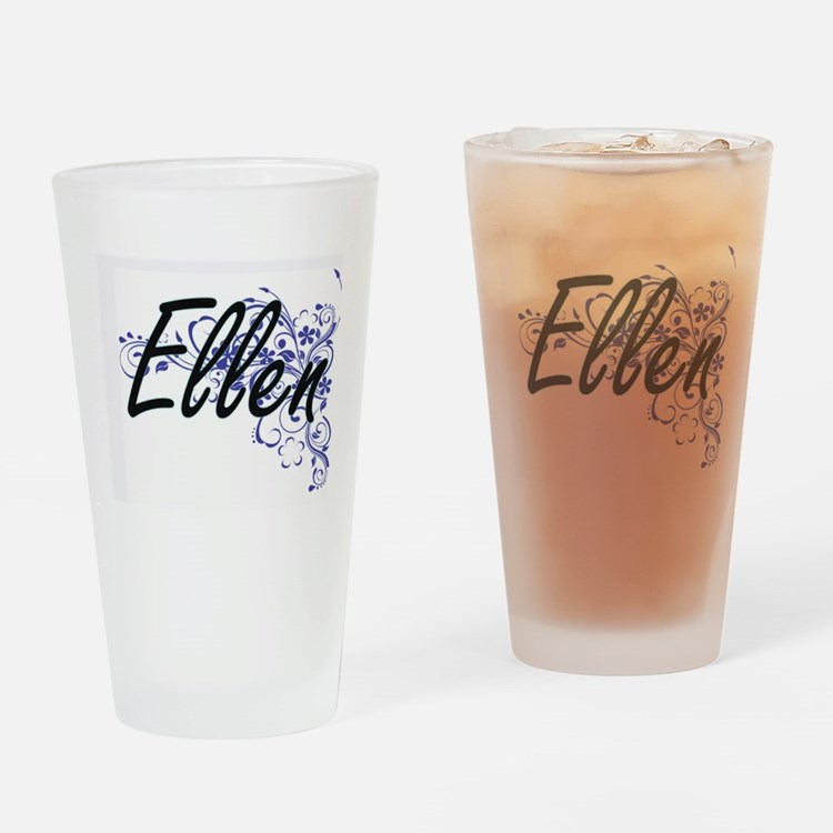 Ellen Artistic Name Design with Flo Drinking Glass