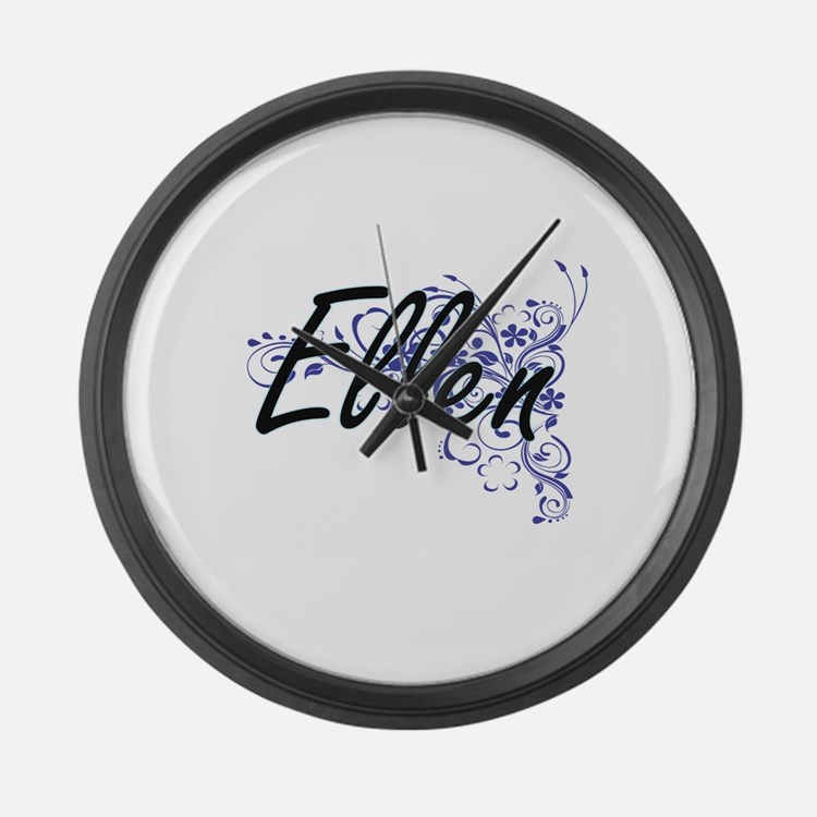 Ellen Artistic Name Design with F Large Wall Clock