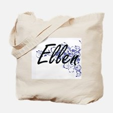 Ellen Artistic Name Design with Flowers Tote Bag
