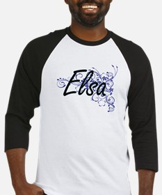 Elsa Artistic Name Design with Flo Baseball Jersey