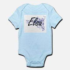 Elsa Artistic Name Design with Flowers Body Suit