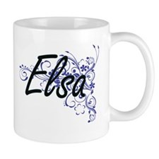 Elsa Artistic Name Design with Flowers Mugs