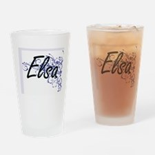 Elsa Artistic Name Design with Flow Drinking Glass