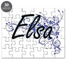 Elsa Artistic Name Design with Flowers Puzzle