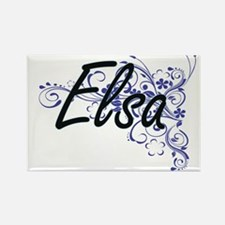Elsa Artistic Name Design with Flowers Magnets