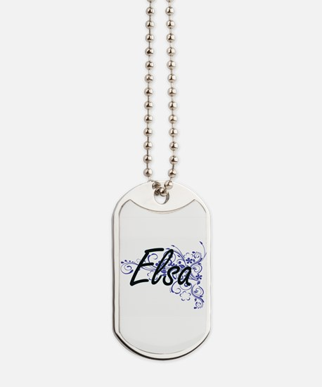 Elsa Artistic Name Design with Flowers Dog Tags
