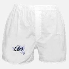 Elsa Artistic Name Design with Flower Boxer Shorts