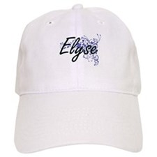 Elyse Artistic Name Design with Flowers Baseball Cap