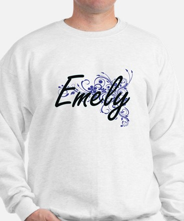 Emely Artistic Name Design with Flowers Sweater
