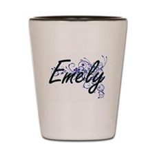 Emely Artistic Name Design with Flowers Shot Glass