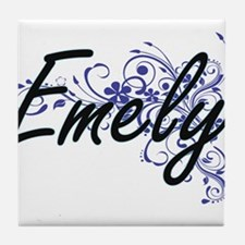 Emely Artistic Name Design with Flowe Tile Coaster