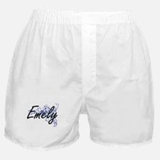 Emely Artistic Name Design with Flowe Boxer Shorts