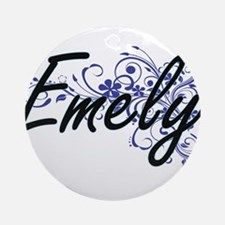 Emely Artistic Name Design with Flo Round Ornament