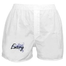 Emery Artistic Name Design with Flowe Boxer Shorts