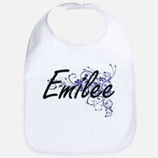 Emilee Artistic Name Design with Flowers Bib