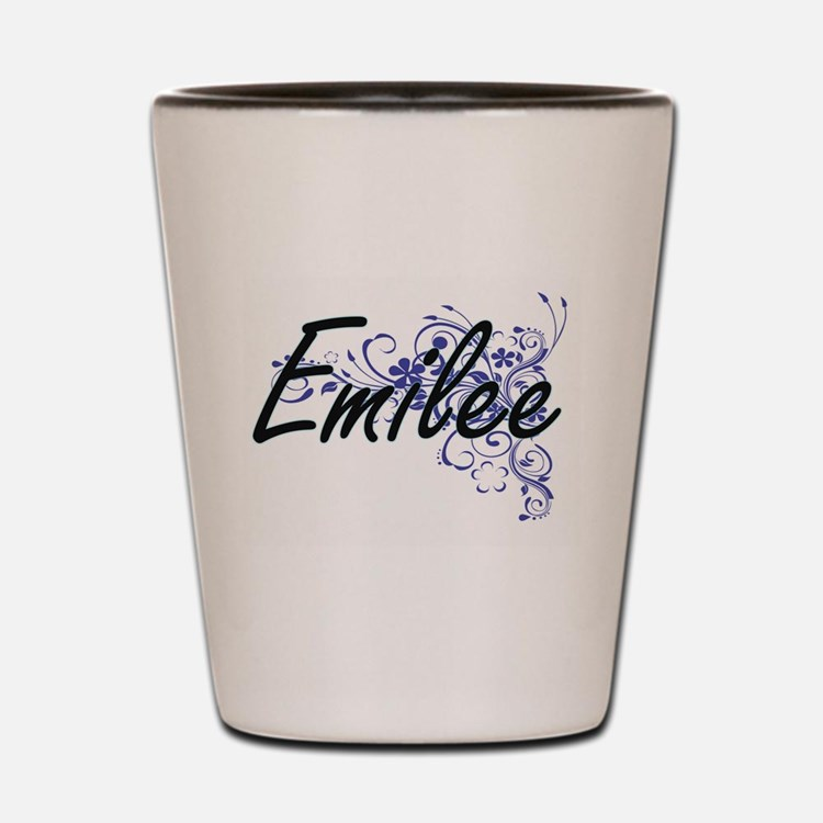 Emilee Artistic Name Design with Flower Shot Glass
