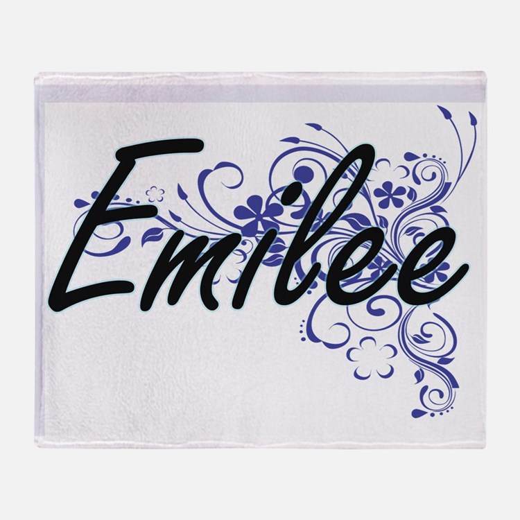 Emilee Artistic Name Design with Flo Throw Blanket