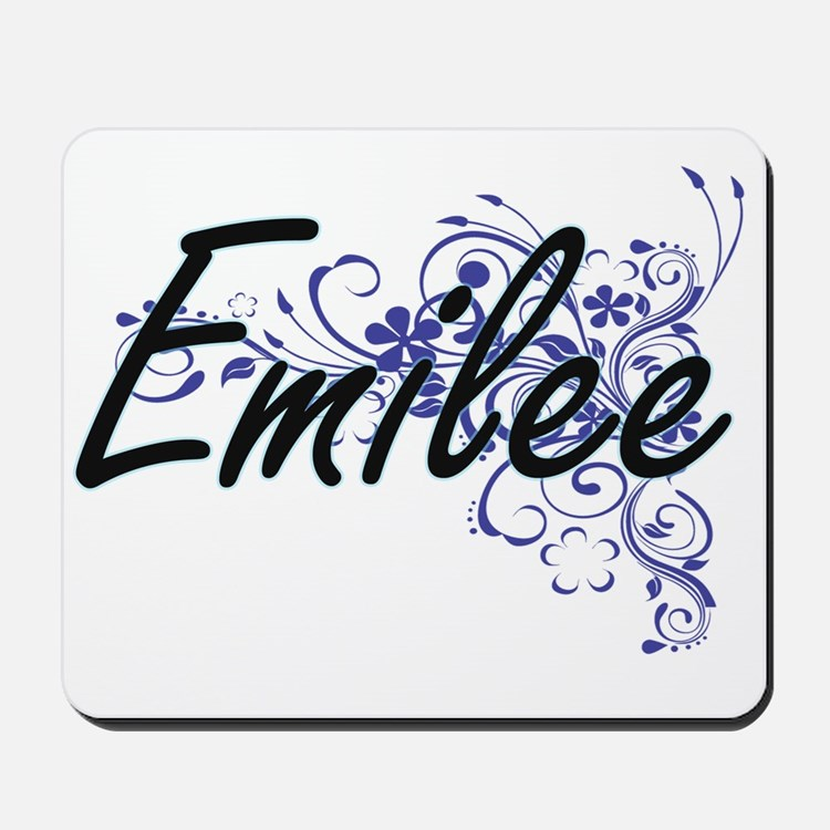 Emilee Artistic Name Design with Flowers Mousepad