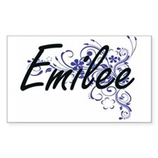 Emilee Artistic Name Design with Flowers Decal