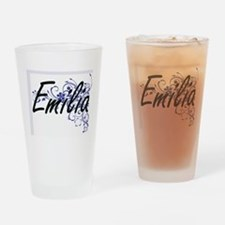 Emilia Artistic Name Design with Fl Drinking Glass