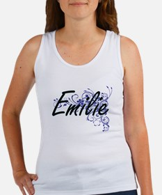 Emilie Artistic Name Design with Flowers Tank Top