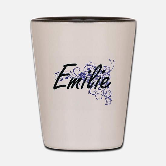 Emilie Artistic Name Design with Flower Shot Glass
