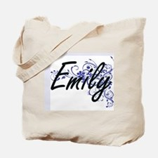 Emily Artistic Name Design with Flowers Tote Bag