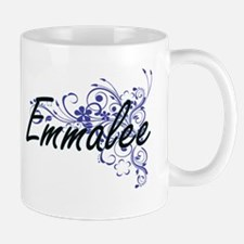 Emmalee Artistic Name Design with Flowers Mugs