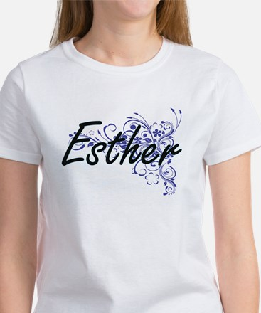 Esther Artistic Name Design with Flowers T-Shirt