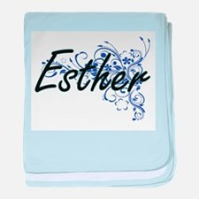 Esther Artistic Name Design with Flow baby blanket