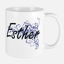 Esther Artistic Name Design with Flowers Mugs