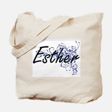 Esther Artistic Name Design with Flowers Tote Bag