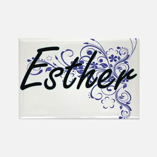 Esther Artistic Name Design with Flowers Magnets
