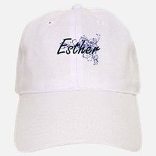Esther Artistic Name Design with Flowers Baseball Baseball Cap