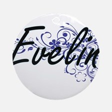 Evelin Artistic Name Design with Fl Round Ornament