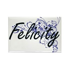 Felicity Artistic Name Design with Flowers Magnets