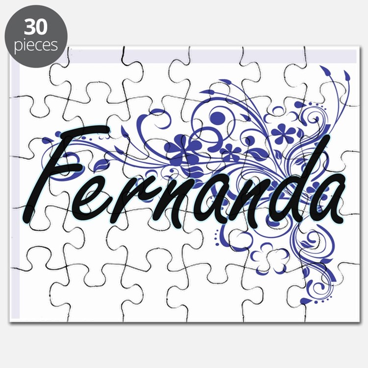 Fernanda Artistic Name Design with Flowers Puzzle