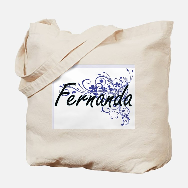 Fernanda Artistic Name Design with Flower Tote Bag