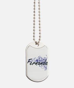 Fernanda Artistic Name Design with Flower Dog Tags