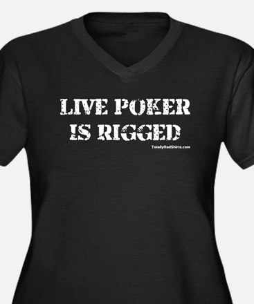 """Live Poker Is Rigged"" Women's Plus Size V-Neck Da"