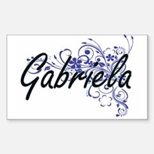Gabriela Artistic Name Design with Flowers Decal