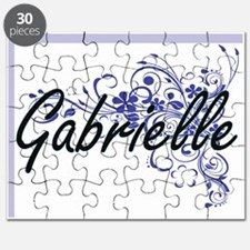 Gabrielle Artistic Name Design with Flowers Puzzle