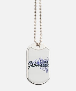 Gabrielle Artistic Name Design with Flowe Dog Tags