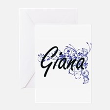 Giana Artistic Name Design with Flo Greeting Cards