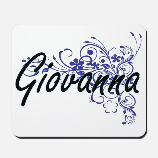 Giovanna Artistic Name Design with Flowe Mousepad