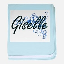 Giselle Artistic Name Design with Flo baby blanket