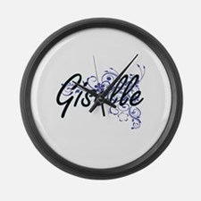 Giselle Artistic Name Design with Large Wall Clock